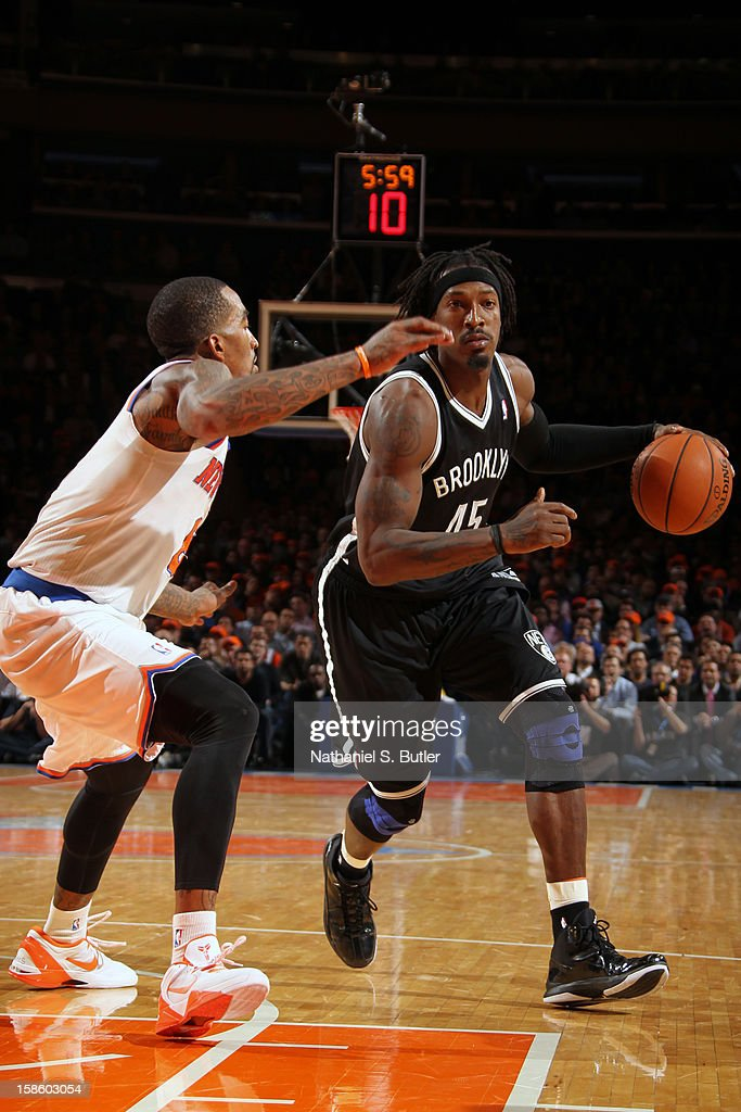 Gerald Wallace #45 of the Brooklyn Nets handles the ball against J.R. Smith #8 of the New York Knicks on December 19, 2012 at Madison Square Garden in New York City.
