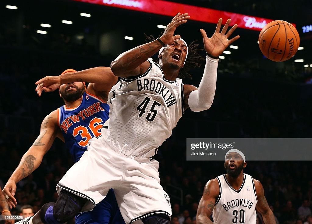Gerald Wallace #45 of the Brooklyn Nets in action against Rasheed Wallace #36 of the New York Knicks at Barclays Center on December 11, 2012 in the Brooklyn borough of New York City.The Knicks defeated the Nets 100-97.