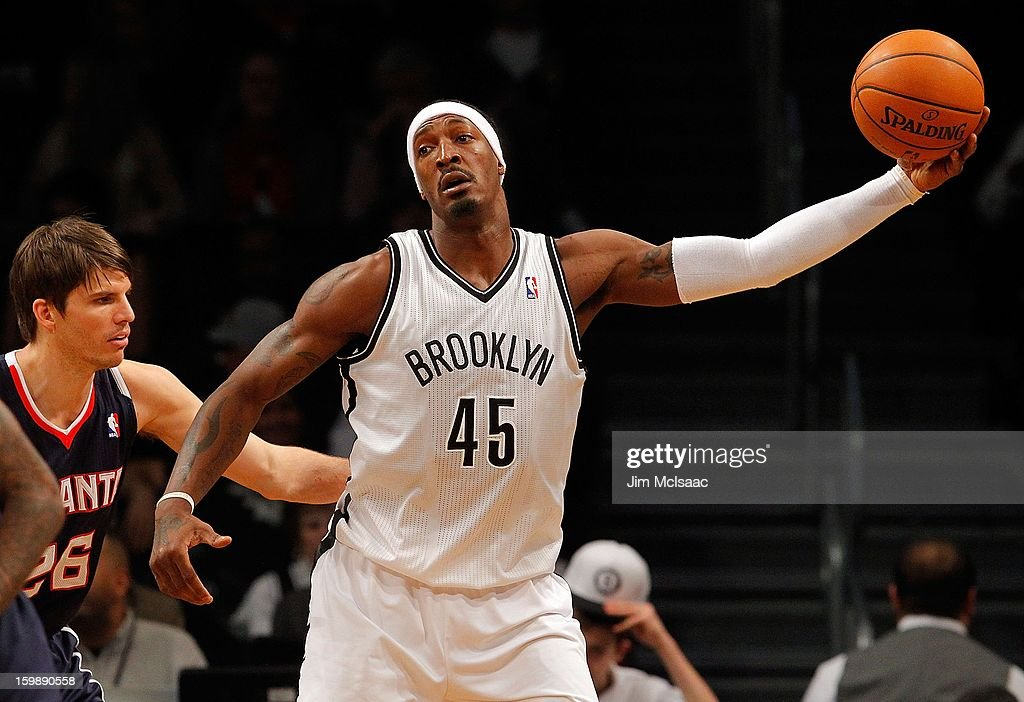Gerald Wallace #45 of the Brooklyn Nets in action against the Atlanta Hawks at Barclays Center on January 18, 2013 in the Brooklyn borough of New York City.The Nets defeated the Hawks 94-89.