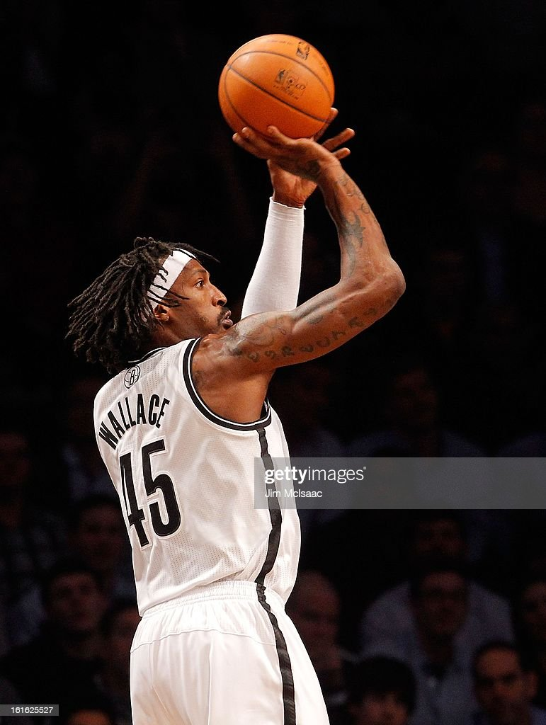 Gerald Wallace #45 of the Brooklyn Nets in action against the Los Angeles Lakers at Barclays Center on February 5, 2013 in the Brooklyn borough of New York City.The Lakers defeated the Nets 92-83.