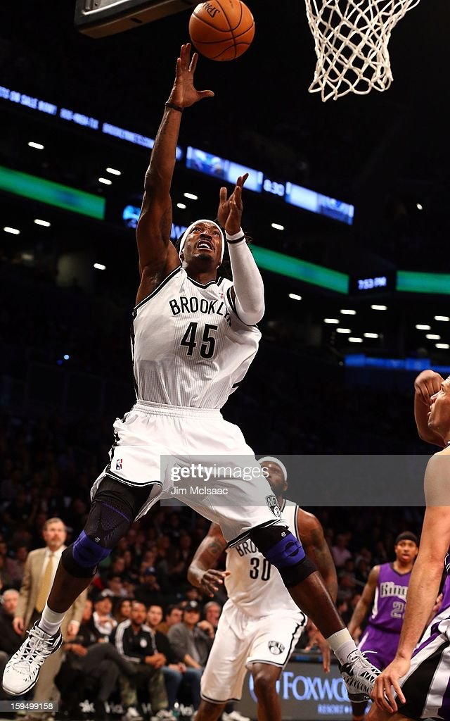 Gerald Wallace #45 of the Brooklyn Nets in action against the Sacramento Kings at Barclays Center on January 5, 2013 in the Brooklyn borough of New York City.The Nets defeated the Kings 113-93.
