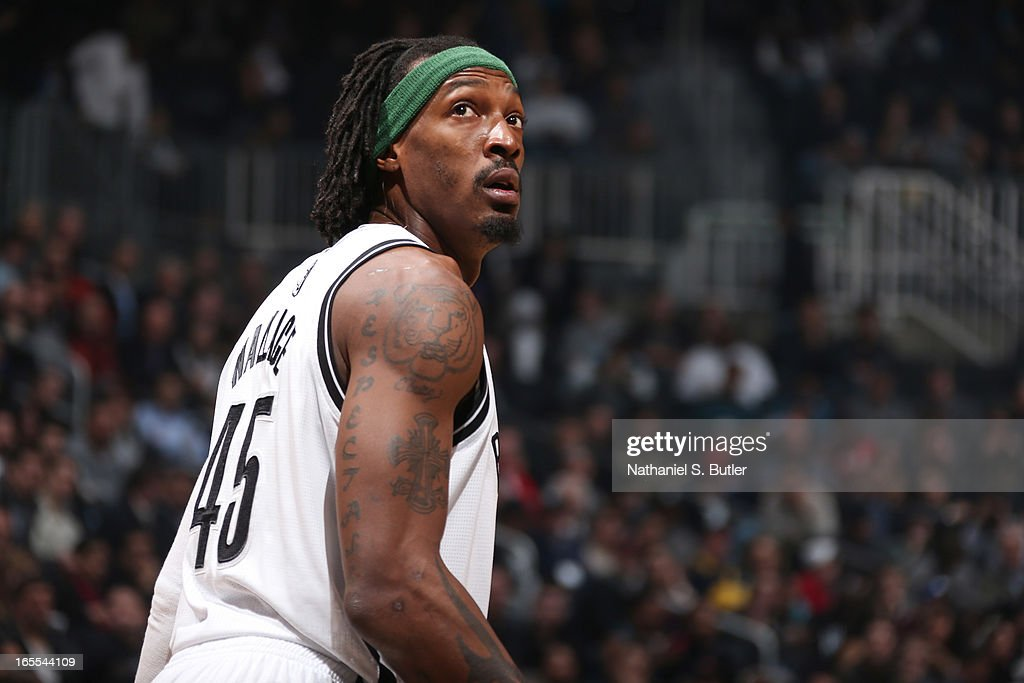 Gerald Wallace #45 of the Brooklyn Nets looks on during a game against the Chicago Bulls on April 4, 2013 at the Barclays Center in the Brooklyn borough of New York City.