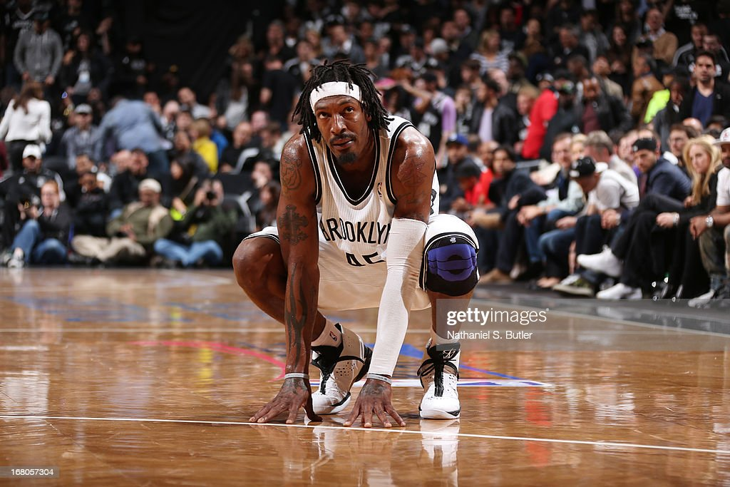 Gerald Wallace #45 of the Brooklyn Nets looks on during Game Seven of the Eastern Conference Quarterfinals against the Chicago Bulls during the 2013 NBA Playoffs at the Barclays Center on May 4, 2013 in the Brooklyn borough of New York City.
