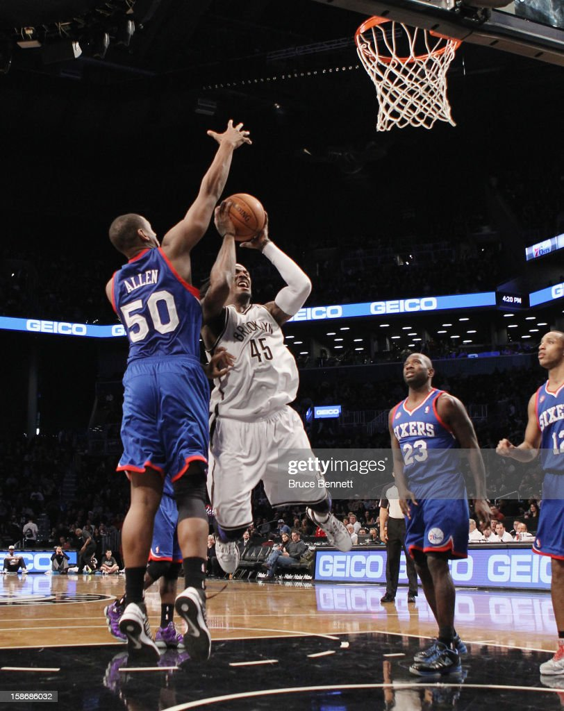 Gerald Wallace #45 of the Brooklyn Nets misses a shot in the third quarter against the Philadelphia 76ers at Barclays Center on December 23, 2012 in the Brooklyn borough of New York City.