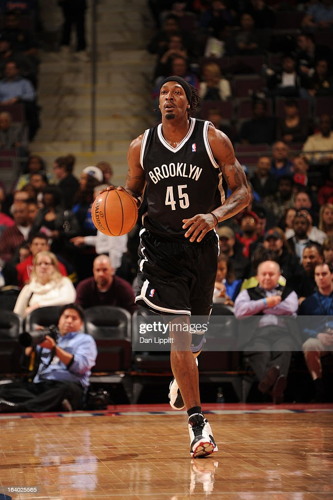 Gerald Wallace #45 of the Brooklyn Nets moves the ball up-court against the Detroit Pistons on March 18, 2013 at The Palace of Auburn Hills in Auburn Hills, Michigan.