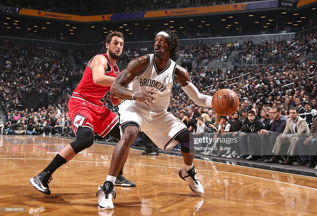 Gerald Wallace #45 of the Brooklyn Nets plays offense against Marco Belinelli #8 of the Chicago Bulls during the Game Seven of the Eastern Conference Quarterfinals during the 2013 NBA Playoffs at the Barclays Center on May 4, 2013 in the Brooklyn borough of New York City.