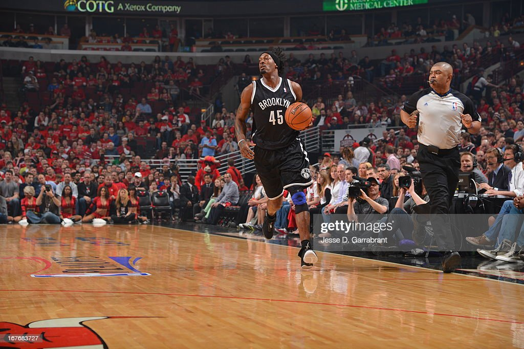 Gerald Wallace #45 of the Brooklyn Nets pushes the ball up the court against the Chicago Bulls in Game Four of the Eastern Conference Quarterfinals during the 2013 NBA Playoffs on April 27, 2013 at United Center in Chicago, Illinois.
