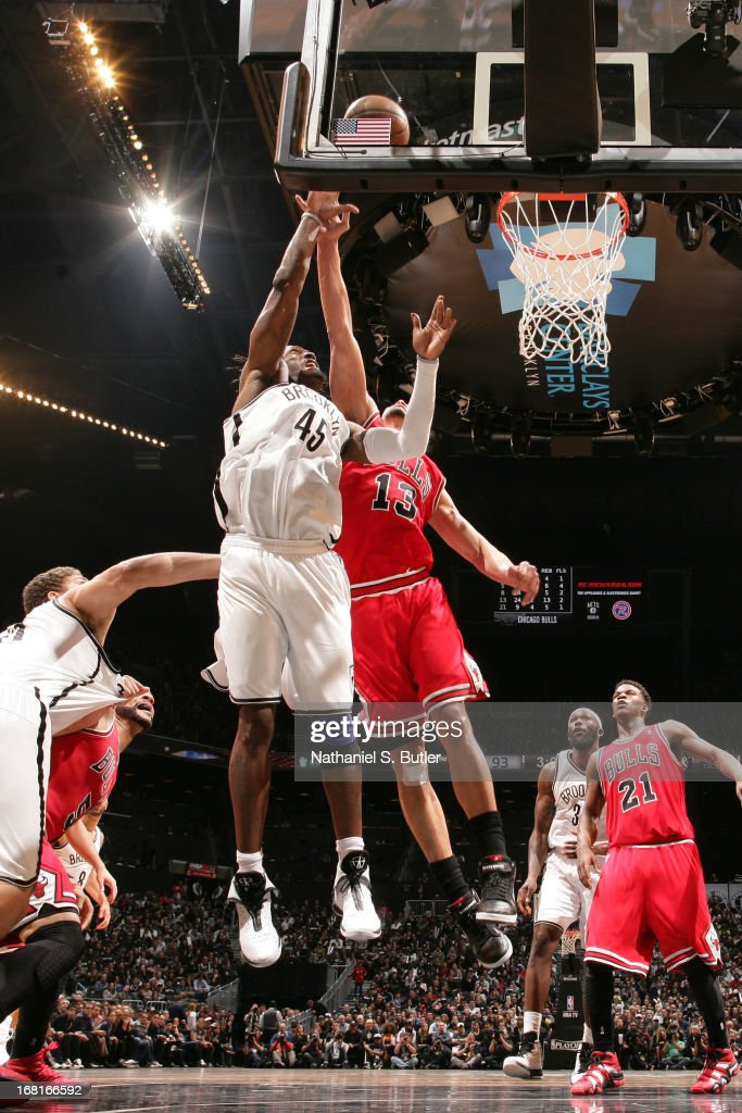<a gi-track='captionPersonalityLinkClicked' href=/galleries/search?phrase=Gerald+Wallace&family=editorial&specificpeople=202117 ng-click='$event.stopPropagation()'>Gerald Wallace</a> #45 of the Brooklyn Nets puts up a shot against the Chicago Bulls during the Game Seven of the Eastern Conference Quarterfinals during the 2013 NBA Playoffs at the Barclays Center on May 4, 2013 in the Brooklyn borough of New York City.