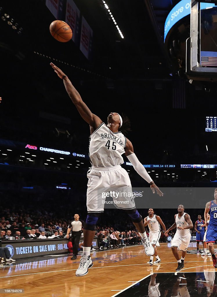 Gerald Wallace #45 of the Brooklyn Nets reaches to block a shot against the Philadelphia 76ers at Barclays Center on December 23, 2012 in the Brooklyn borough of New York City.