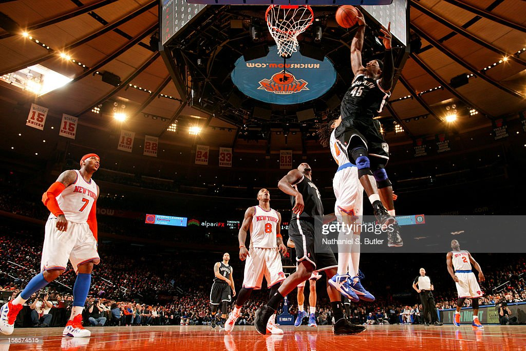 Gerald Wallace #45 of the Brooklyn Nets rises for a dunk against the New York Knicks on December 19, 2012 at Madison Square Garden in New York City.