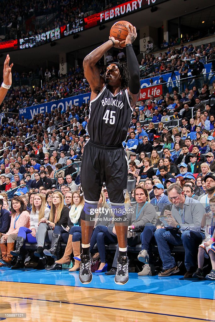 Gerald Wallace #45 of the Brooklyn Nets shoots a three-pointer against the Oklahoma City Thunder on January 2, 2013 at the Chesapeake Energy Arena in Oklahoma City, Oklahoma.