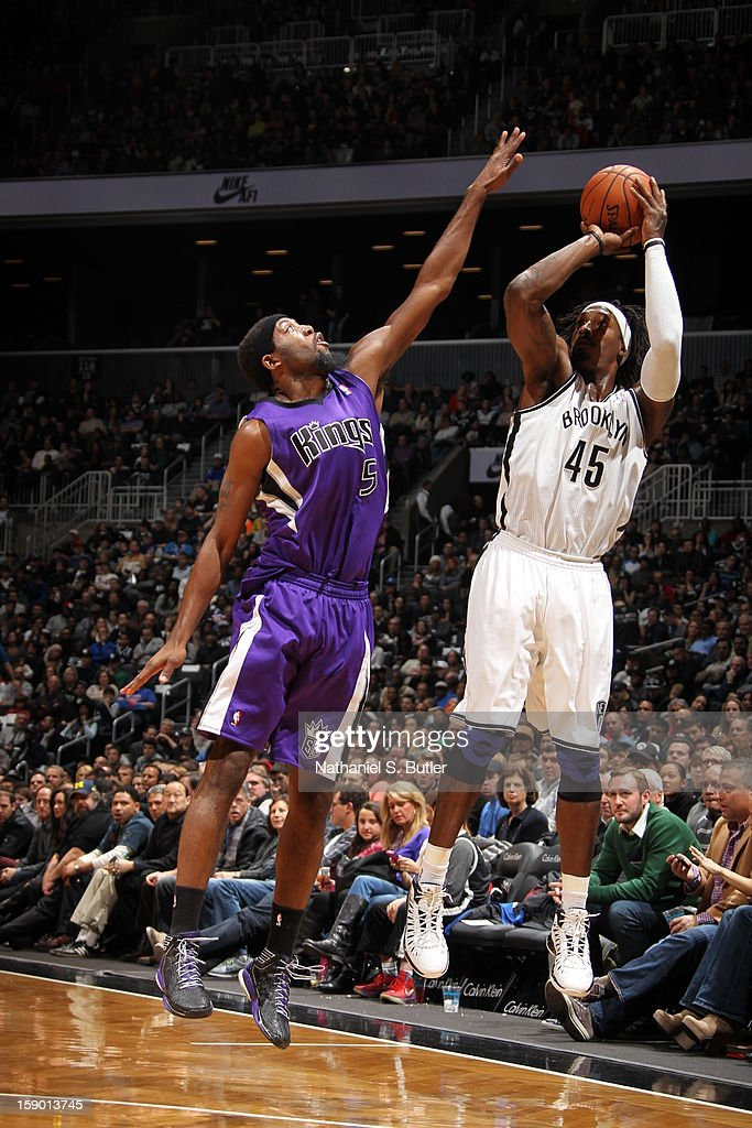 Gerald Wallace #45 of the Brooklyn Nets shoots against John Salmons #5 of the Sacramento Kings on January 5, 2013 at the Barclays Center in the Brooklyn borough of New York City.