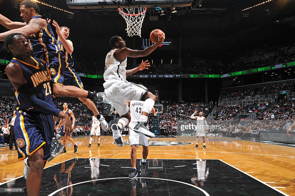 Gerald Wallace #45 of the Brooklyn Nets shoots against the Indiana Pacers during the game at the Barclays Center on January 13, 2013 in Brooklyn, New York.