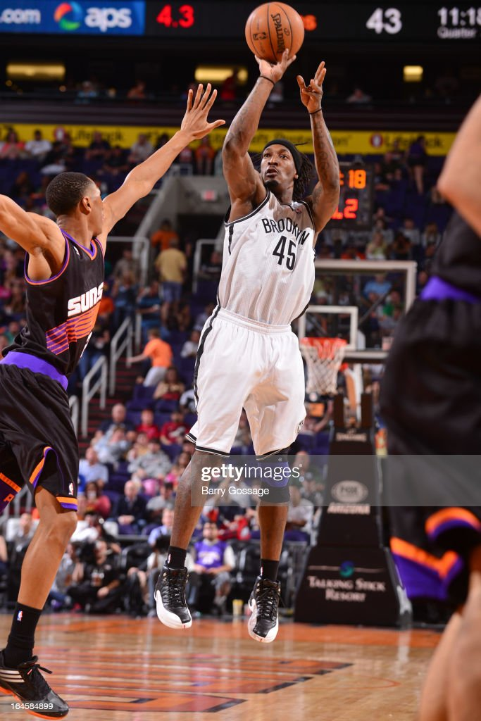 Gerald Wallace #45 of the Brooklyn Nets shoots against the Phoenix Suns on March 24, 2013 at U.S. Airways Center in Phoenix, Arizona.