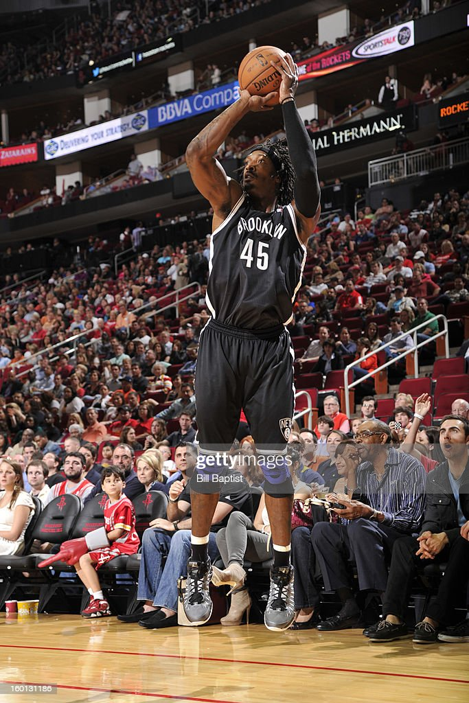 Gerald Wallace #45 of the Brooklyn Nets shoots the ball against the Houston Rockets on January 26, 2013 at the Toyota Center in Houston, Texas.