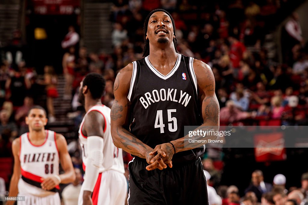 Gerald Wallace #45 of the Brooklyn Nets smiles during a game against the Portland Trail Blazers on March 27, 2013 at the Rose Garden Arena in Portland, Oregon.