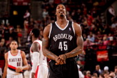 Gerald Wallace of the Brooklyn Nets smiles during a game against the Portland Trail Blazers on March 27 2013 at the Rose Garden Arena in Portland...