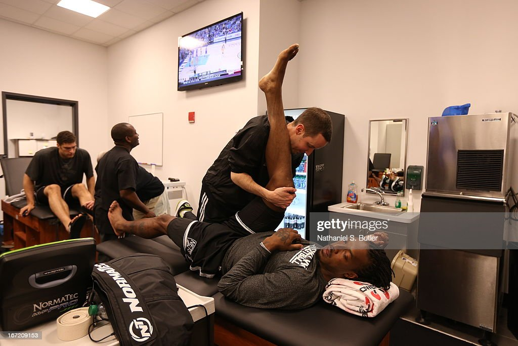 <a gi-track='captionPersonalityLinkClicked' href=/galleries/search?phrase=Gerald+Wallace&family=editorial&specificpeople=202117 ng-click='$event.stopPropagation()'>Gerald Wallace</a> #45 of the Brooklyn Nets stretches before the game against the Chicago Bulls in Game One of the Eastern Conference Quarterfinals during the 2013 NBA Playoffs on April 20 at the Barclays Center in the Brooklyn borough of New York City.