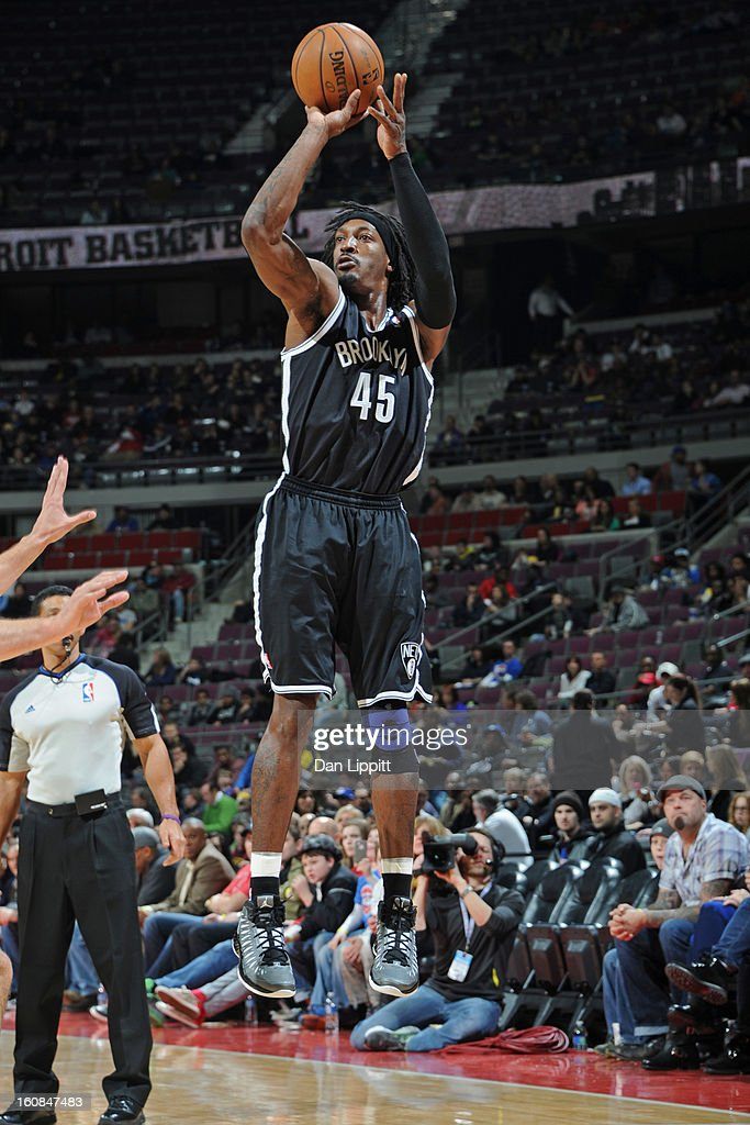 Gerald Wallace #45 of the Brooklyn Nets takes a shot against the Detroit Pistons on February 6, 2013 at The Palace of Auburn Hills in Auburn Hills, Michigan.