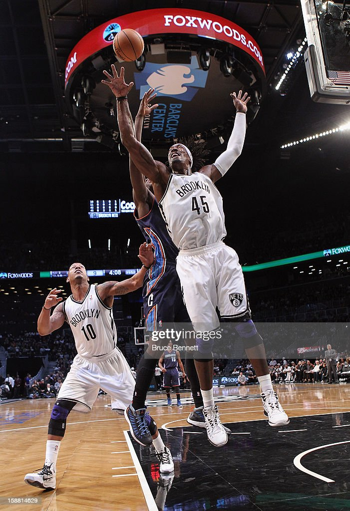 Gerald Wallace #45 of the Brooklyn Nets takes the shot against the Charlotte Bobcats at the Barclays Center on December 28, 2012 in the Brooklyn borough of New York City.