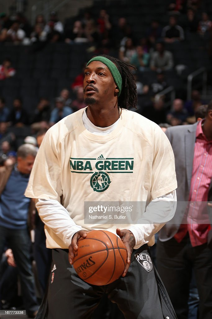 <a gi-track='captionPersonalityLinkClicked' href=/galleries/search?phrase=Gerald+Wallace&family=editorial&specificpeople=202117 ng-click='$event.stopPropagation()'>Gerald Wallace</a> #45 of the Brooklyn Nets warms up before the game against the Chicago Bulls on April 4, 2013 at the Barclays Center in the Brooklyn borough of New York City.
