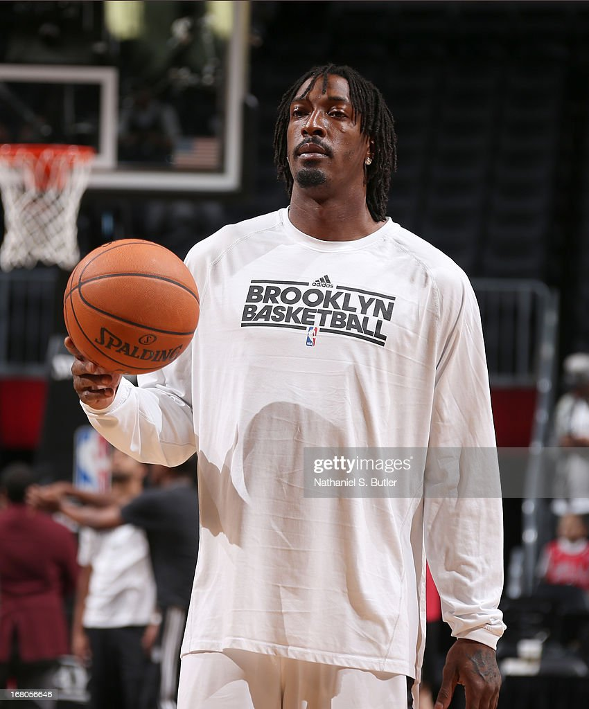 Gerald Wallace #45 of the Brooklyn Nets warms up for the Game Seven of the Eastern Conference Quarterfinals between the Chicago Bulls and the Brooklyn Nets during the 2013 NBA Playoffs at the Barclays Center on May 4, 2013 in the Brooklyn borough of New York City.