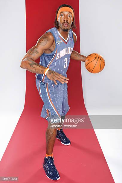 Gerald Wallace of the Charlotte Bobcats and participant in the Sprite Slam Dunk Contest poses for a portrait during AllStar Saturday Night as part of...