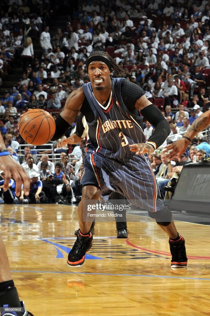 <a gi-track='captionPersonalityLinkClicked' href=/galleries/search?phrase=Gerald+Wallace&family=editorial&specificpeople=202117 ng-click='$event.stopPropagation()'>Gerald Wallace</a> #3 of the Charlotte Bobcats drives to the basket in Game One of the Eastern Conference Quarterfinals against the Orlando Magic during the 2010 NBA Playoffs at Amway Arena on April 18, 2010 in Orlando, Florida. The Magic won 98-89.