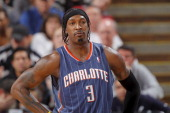 Gerald Wallace of the Charlotte Bobcats gets ready to take on the Sacramento Kings on January 25 2011 at ARCO Arena in Sacramento California NOTE TO...