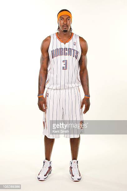 Gerald Wallace of the Charlotte Bobcats poses for a portrait during the 2010 NBA Media Day on September 27 2010 at Time Warner Cable Arena in...