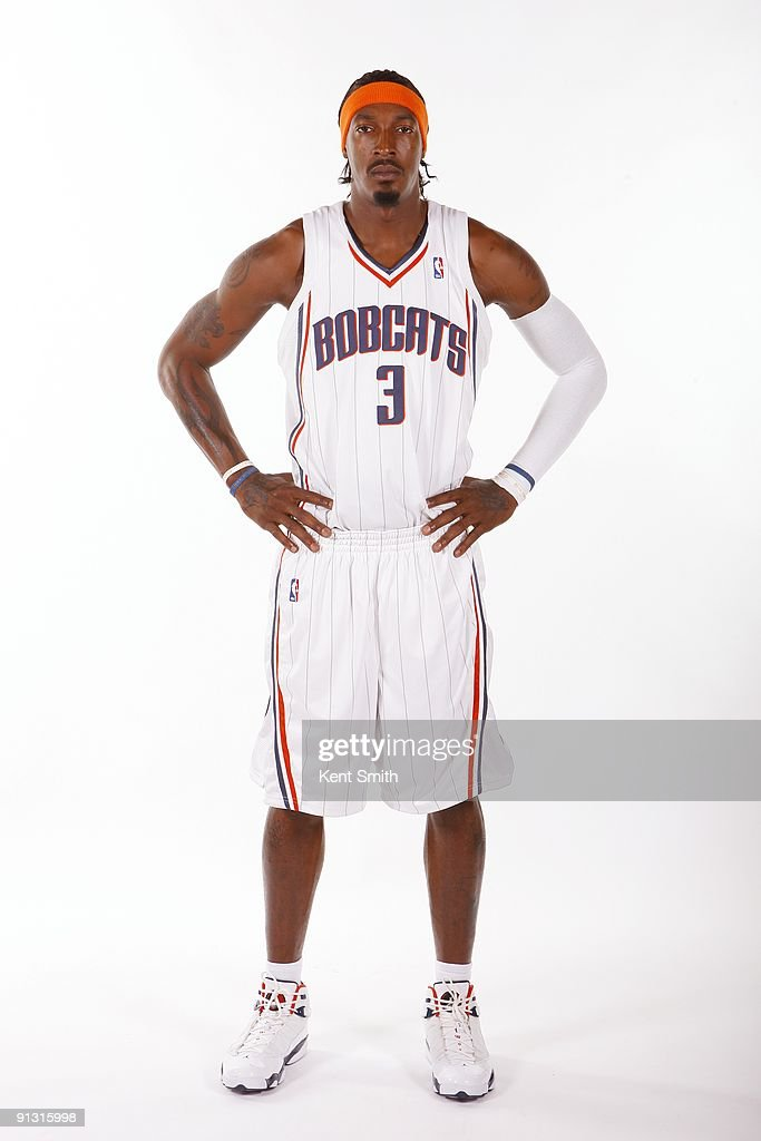<a gi-track='captionPersonalityLinkClicked' href=/galleries/search?phrase=Gerald+Wallace&family=editorial&specificpeople=202117 ng-click='$event.stopPropagation()'>Gerald Wallace</a> #3 of the Charlotte Bobcats poses for a portrait during 2009 NBA Media Day at Time Warner Cable Arena on September 28, 2009 in Charlotte, North Carolina.