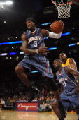 Gerald Wallace of the Charlotte Bobcats rebounds the ball during a preseason game against the Los Angeles Lakers at Staples Center on October 17 2009...