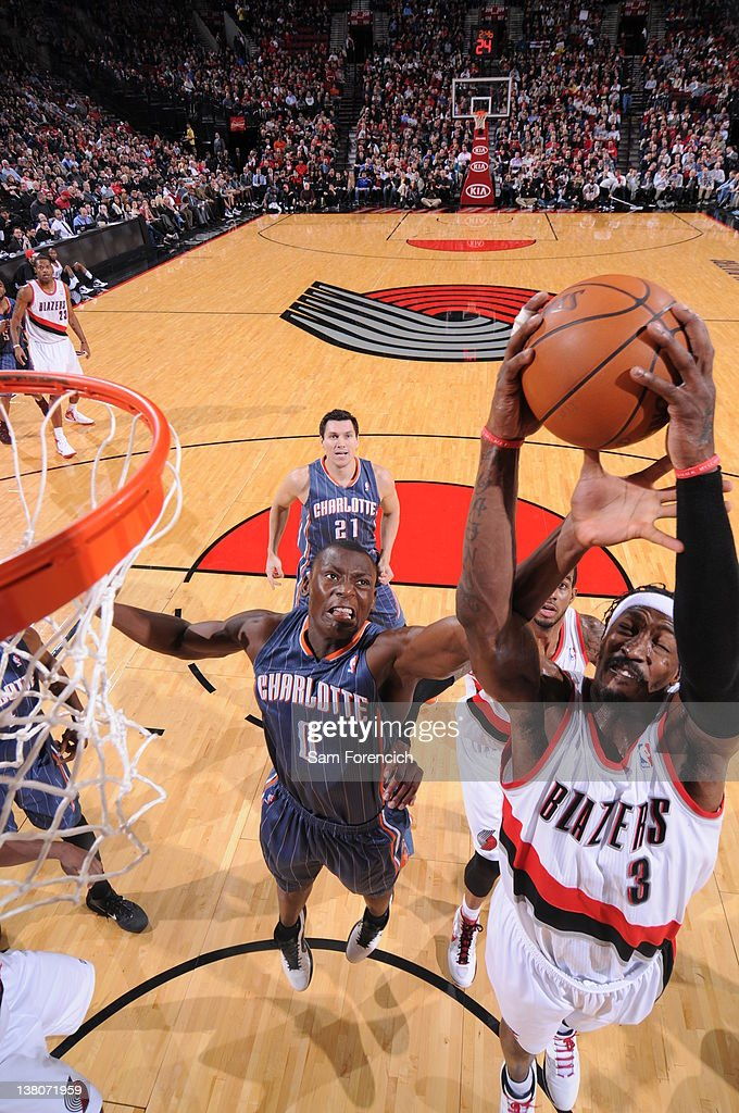 Gerald Wallace #3 of the Portland Trail Blazers grabs the rebound against Bismack Biyombo #0 of the Charlotte Bobcats on February 1, 2012 at the Rose Garden Arena in Portland, Oregon.