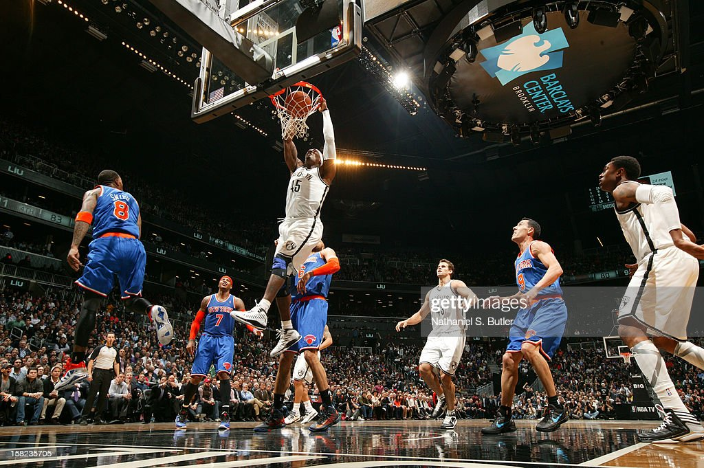 Gerald Wallce #45 of the Brooklyn Nets shoots against the New York Knicks on December 11, 2012 at the Barclays Center in the Brooklyn borough of New York City.