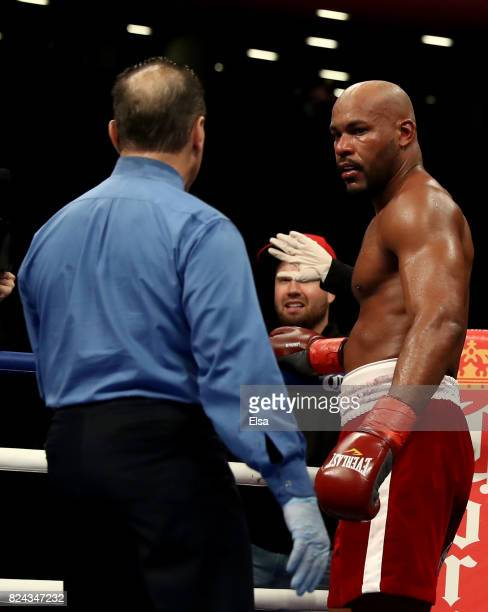 Gerald Washington and his corner stop the fight against Jarrell Miller during their heavyweight match on July 29 2017 at the Barclays Center in the...