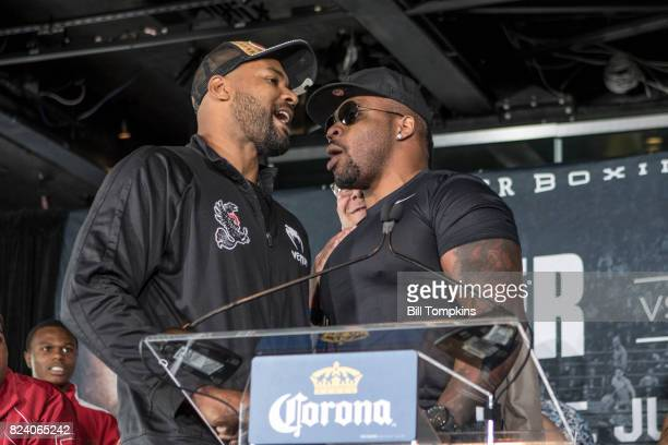 Gerald Washington and Jarrell Miller face off during the Adrien Broner vs Mikey Garcia Final Press Conference at the Dream Hotel July 27 2017 in New...