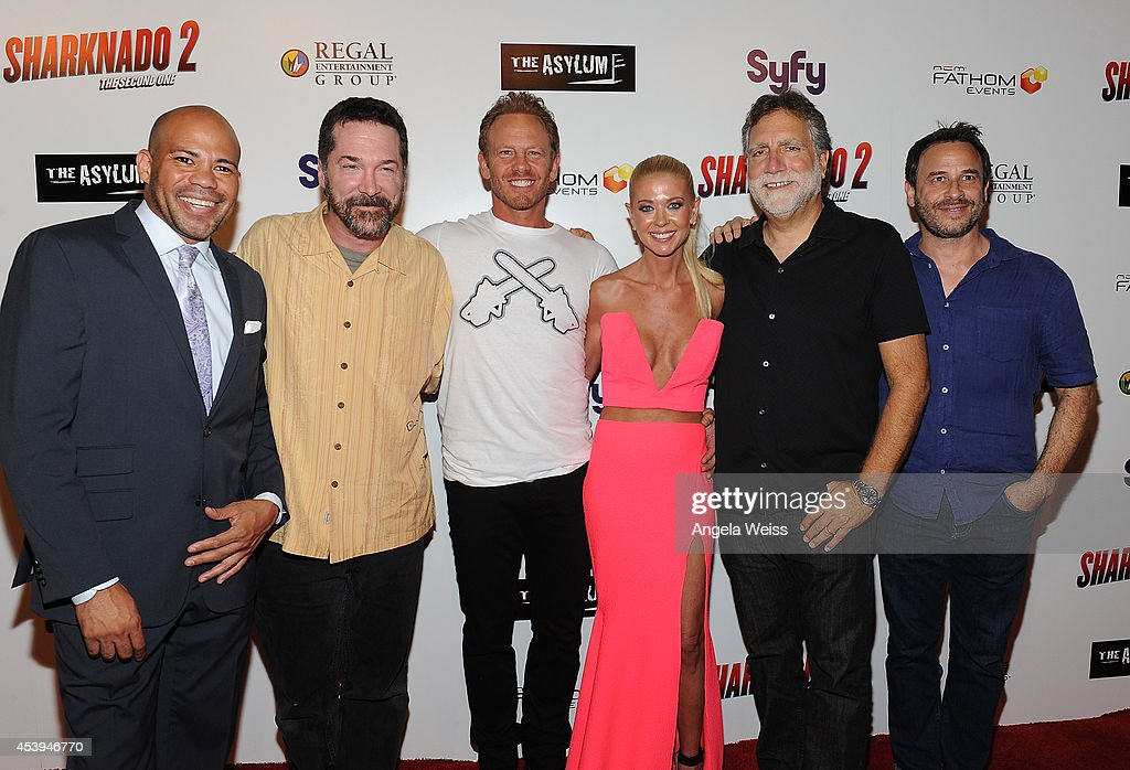 Gerald Webb, producers David Latt, actor <a gi-track='captionPersonalityLinkClicked' href=/galleries/search?phrase=Ian+Ziering&family=editorial&specificpeople=622264 ng-click='$event.stopPropagation()'>Ian Ziering</a>, actress <a gi-track='captionPersonalityLinkClicked' href=/galleries/search?phrase=Tara+Reid&family=editorial&specificpeople=202160 ng-click='$event.stopPropagation()'>Tara Reid</a>, producer David Garber and David Rimawi attend the premiere of The Asylum & Fathom Events' 'Sharknado 2: The Second One' at Regal Cinemas L.A. Live on August 21, 2014 in Los Angeles, California.