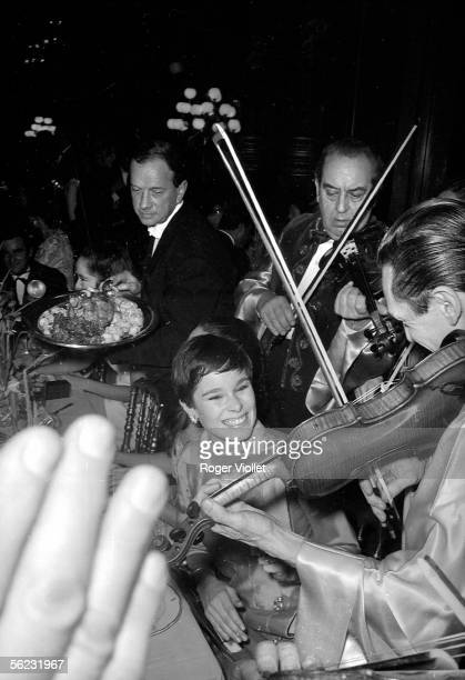 Geraldine Chaplin American actress during the premiere of 'A countess from Hong Kong' by Charlie Chaplin at the Opera Garnier Paris 1967 HA125540