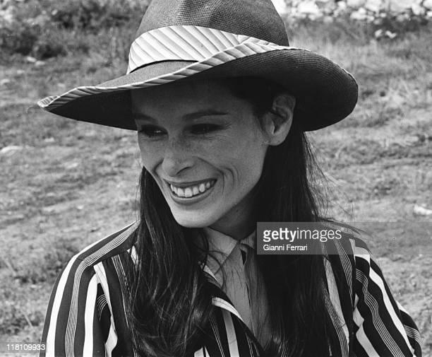 Geraldine Chaplin during a break of the filmation of the movie 'Elisa vida mia' Calanda Teruel Spain