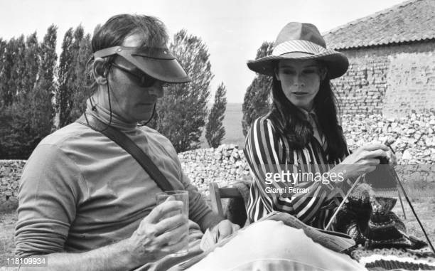 Geraldine Chaplin during a break of the filmation of the movie 'Elisa vida mia' with Carlos Saura Calanda Teruel Spain