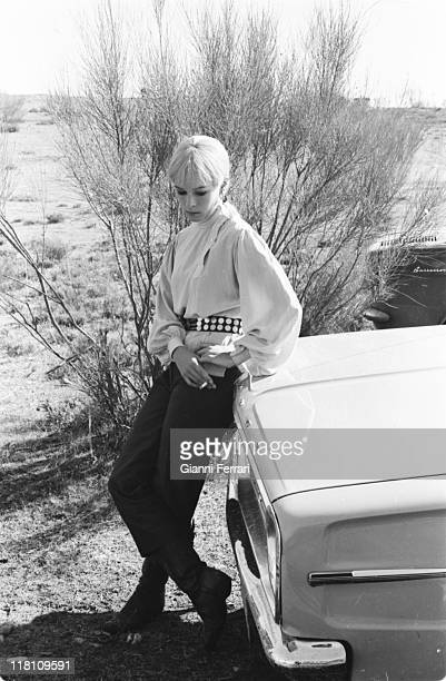 Geraldine Chaplin during the filmation of 'Double Image' a series of Spanish Television in Mota del Cuervo Ciudad Real Spain