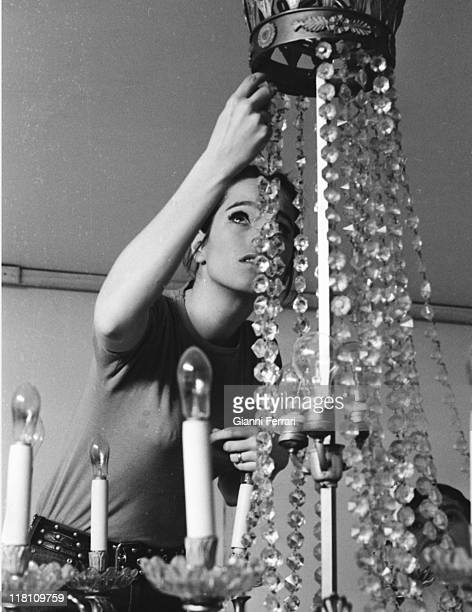 Geraldine Chaplin during the filmation of the movie 'La Madriguera' directed by Carlos Saura Madrid Spain