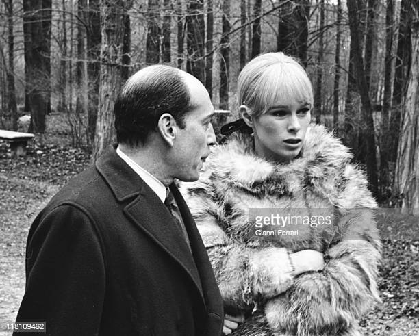 Geraldine Chaplin during the filmation of the movie 'Peppermint Frappe' directed by Carlos Saura with Jose Luis Lopez Vazquez Cuenca Spain