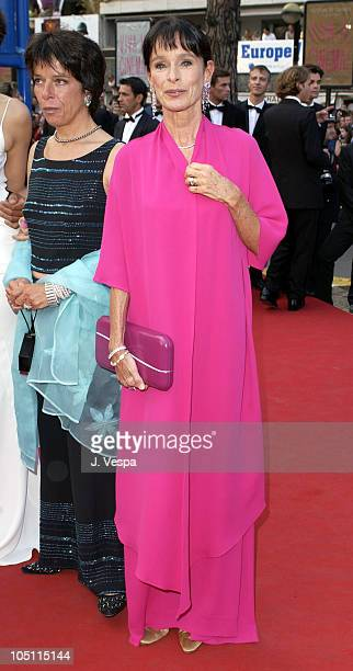 Geraldine Chaplin wearing jewelry by Chopard during 2003 Cannes Film Festival Closing Ceremony Arrivals at Palais des Festivals in Cannes France