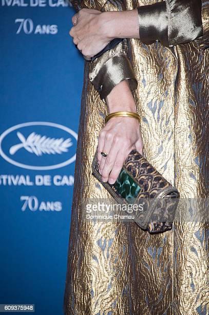 Geraldine Pailhas bag detail attends the Cannes Film Festival 70th Anniversary Party at Palais Des Beaux Arts on September 20 2016 in Paris France