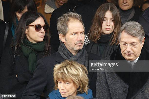 Geraldine Pailhas Christopher Thompson and Daniele Thompson attend Michele Morgan's Funerals in Church SaintPierre de Neuilly sur Seine on December...