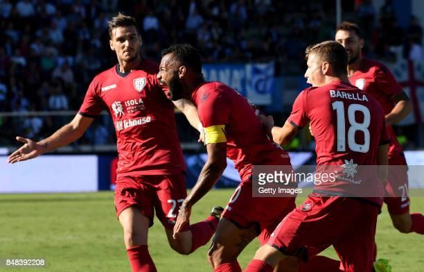 Geraldino Dos Santos G Joao Pedro of Cagliari Calcio celebrates after scoring the 02 goal during the Serie A match between Spal and Cagliari Calcio...