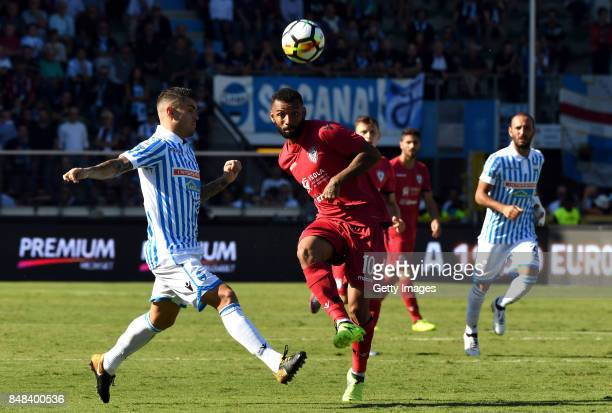 Geraldino Dos Santos G Joao Pedro of Cagliari Calcio competes for the ball whit Federico Viviani of Spal during the Serie A match between Spal and...