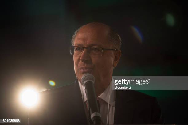Geraldo Alckmin governor of Sao Paulo State pauses while speaking during the UNICA Ethanol Summit 2017 in Sao Paulo Brazil on Monday June 26 2017 The...