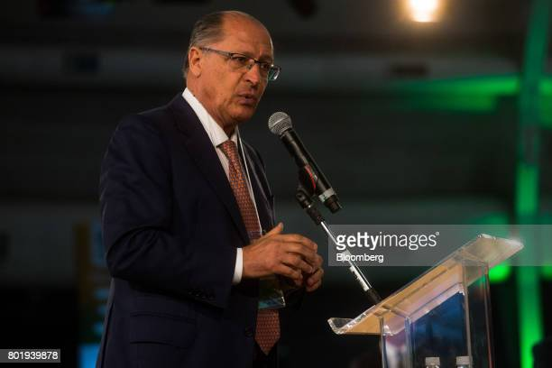 Geraldo Alckmin governor of Sao Paulo State speaks during the UNICA Ethanol Summit 2017 in Sao Paulo Brazil on Monday June 26 2017 The Ethanol Summit...
